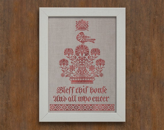 Bless This House, a Fraktur Sampler - Cross Stitch Embroidery Pattern - Instant Download PDF Booklet