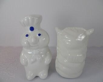 Vintage Pillsbury Doughboy & Flour Sack Salt and Pepper Shaker Set - Pillsbury Dough Boy Shakers - Doughboy and Flour Sack