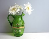 Victorian green glass pitcher - hand painted daisies - pontil mark - ruffled rim -  vintage cottage chic - 1900s