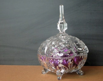 Vintage elegant glass covered candy dish - pressed glass with cut details - footed glass dish - steeple cover