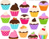 Cupcakes Clipart Set - clip art set of assorted cupcakes, cupcake, cake, cupcakes - personal use, small commercial use, instant download