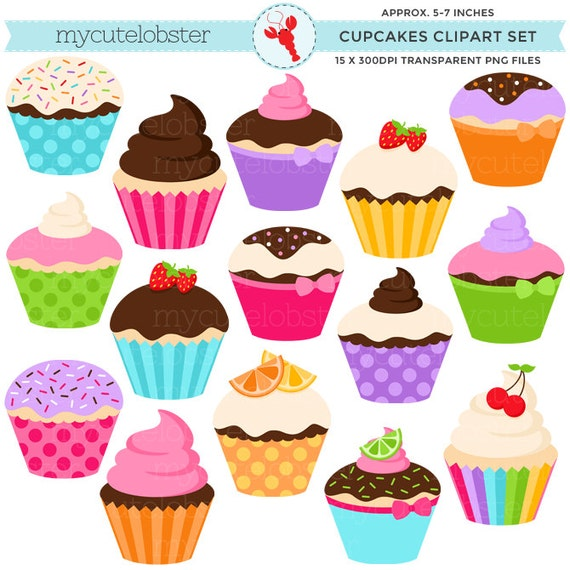 Clipart De Cupcake : Cupcakes Clipart Set clip art set of assorted cupcakes