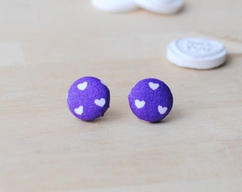Heart Print Button Earrings | Valentines Gift | Nickel Free