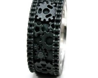 Gear Ring - Mens Steampunk Bike Chain Black Silver Ring