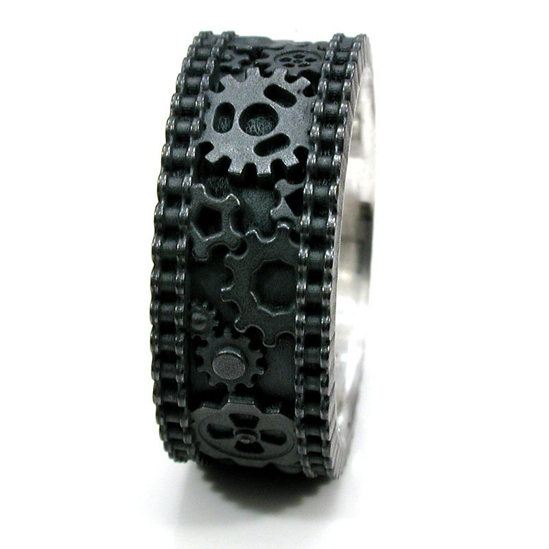 gear ring mens steunk bike chain black silver ring