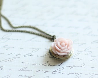 Ballet Pink Rose Locket - Pick from 10 Rose Colors -Layering Locket Necklace - Flowergirl Locket Necklace -Bridesmaid Locket - Rose Necklace