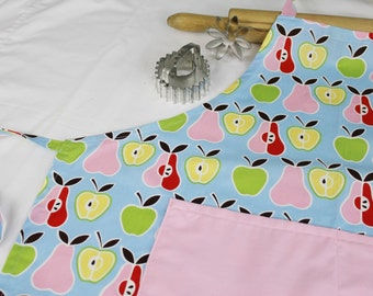 Retro Apples N Pears Adult Apron with pink pocket