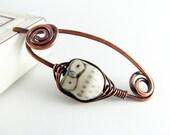 Owl Brooch Shawl Pin Copper Wire Scarf Pin Sweater Pin Fibula Wire Wrapped Jewelry Owl Shawl Pin Copper Jewelry