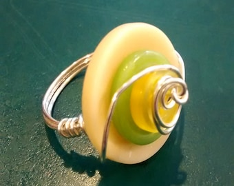 Yellow and Green Wire Wrapped Button Ring