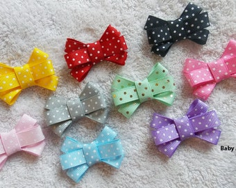 Set of 9 Baby Bows - Baby Girl, Newborn, Baby Shower Gift, Baby Gift, Itty Bitty Bow, Pigtail Bow, Bow Set, Baby Girl Bow