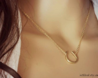 Lucky Horseshoe Necklace - 12K Gold Filled- Good Luck Necklace