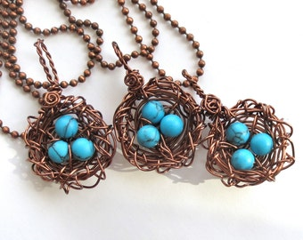Birds Nest Pendant Wire Wrapped Antique Copper  Robins Egg Blue Turquoise Bead
