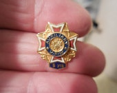 Vintage Veterans of Foreign Wars Enamel 1990s Gold Tone Tiny 5 year Pin VFW Auxiliary Red White Blue Eagles Swords Anchors Rifles Military