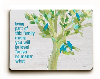 Being Part of This Family horizontal 9 x 12 solid (unplanked) wooden art sign wall decor Birds on Tree