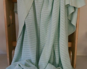 "Pale Aqua Blanket Cotton Thermal Layering 94"" Wide"