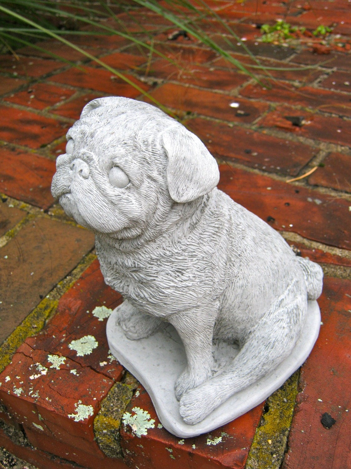 Pug Statue Concrete Black Pug Cement Dog By Westwindhomegarden