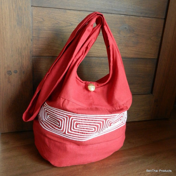Thai Cotton Embroidered Sling Bag Purse Hippie Hobo Crossbody Messenger in Red Black White / You Pick Color