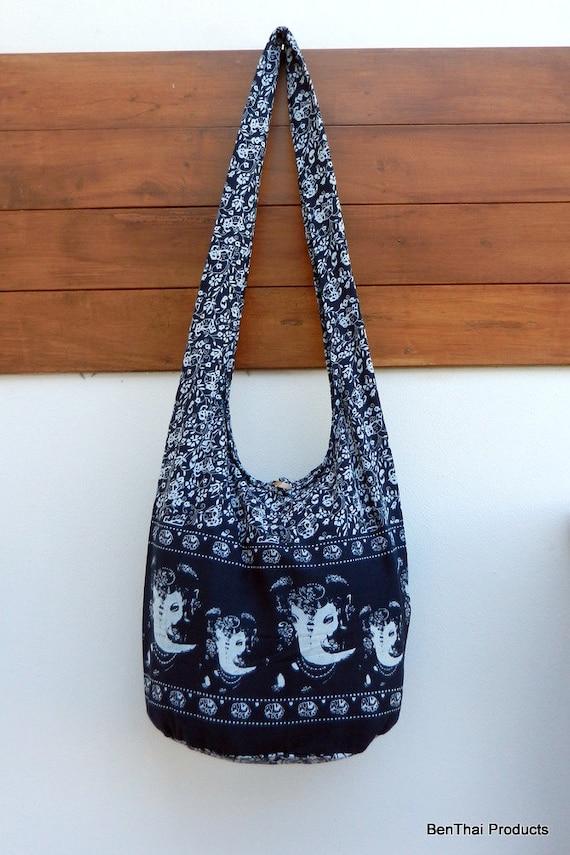 Ganesh Hindu Bag, Indian God Bag, Thai Bag, Cotton Bag, Crossbody Bag, Hobo Bag, Bohemian Purse, Market Bag, Travel Bag /  You Pick Color