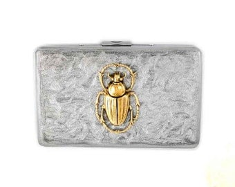 Scarab Metal Wallet with Card Organizer  Inlaid in Hand Painted Enamel Metallic Silver Antique Gold Egyptian Beetle Personalized Options