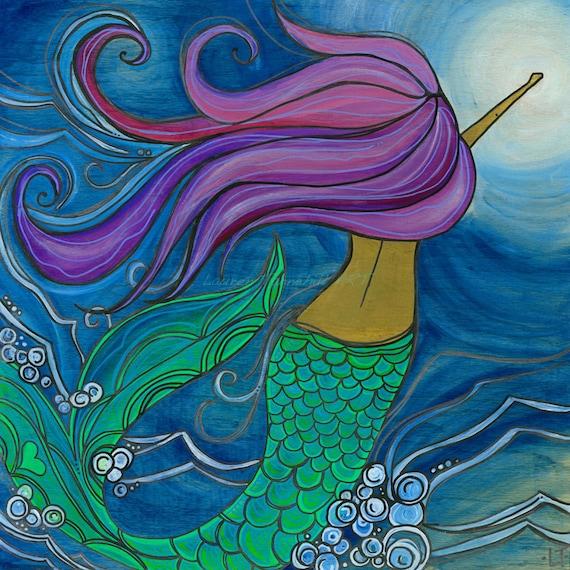 11x14 Large Print, Mermaid Swimming Through Ocean Beachy Surf Art by Lauren Tannehill ART