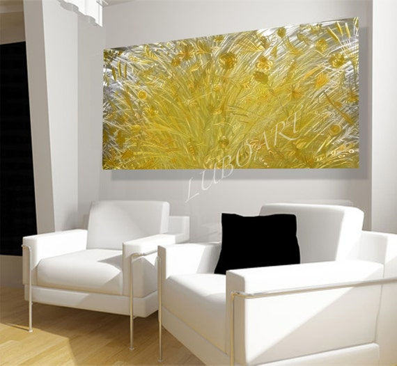 Long Metal Wall Decor : Large metal art yellow flower long d big wall decor