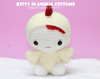 INSTANT DOWNLOAD PDF Pattern: Amigurumi Kitty in Rooster Costume / Chinese Zodiac Rooster