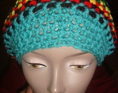 Bob Marley Inpired Slouch Hat-Teal, Black, Red, Yellow and Green---AVAILABLE NOW---