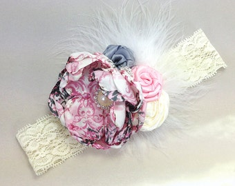 Pink Gray Headband with Satin Flower, Feather and Ivory Lace for Baby Girl, Photo Prop, Baptism, Shower Gift or for Wedding
