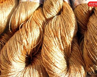 "Viscose Silk Yarn: Shining, Superfine / Lace weight, bright crochet yarn, color gold. Yarn ""ajur"". Colour 124. DSH"