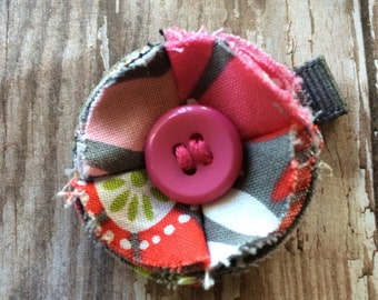 Pink and Gray Fabric Rosette Flower Hair Clip Baby-Toddler-Girls-Women
