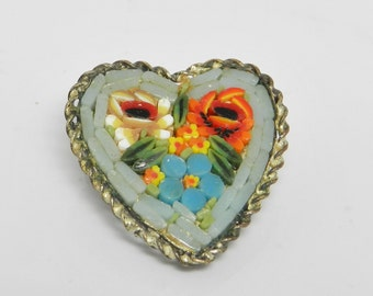Unique Antique Micro Mosaic Heart Shaped Brooch Signed Italy