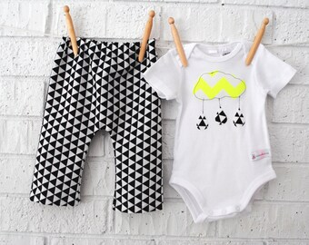 Geometric Baby Boy Harems and Neon Cloud Bodysuit