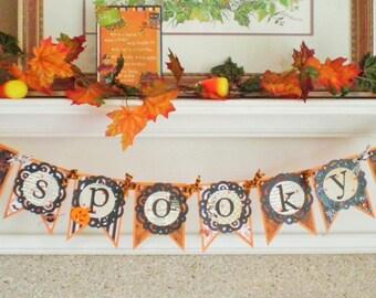 DIY KIT - Spooky Banner - Halloween Banner - Autumn Banner- 3 Versions to Choose Orange/Black/Green - Orange/Black/Cream - Cream/Black/Brown