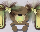 Teddy bear baby shower / gender reveal banner, brown, yellow and green, photo prop