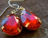 Titanium Earrings, Red Glass Teardrops, Set in Brass with Hypoallergenic Titanium Ear Wires, January or July Birthstone Birthstone