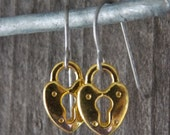 Titanium Earrings, Gold Heart Shaped Padlock Charms on Hypoallergenic Titanium Ear Wires
