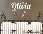 Hanging Girl Monkey with Custom Baby Name- Kid's Nursery Room Wall Sticker