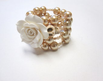 Sugar Skull Bracelet Day Of The Dead Wrap Off White Rose Ivory Cream Wedding Jewelry Accessory