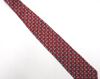 "Red Necktie Brooks Brothers 3.5"" Wide Tie Long Silk Nautical"