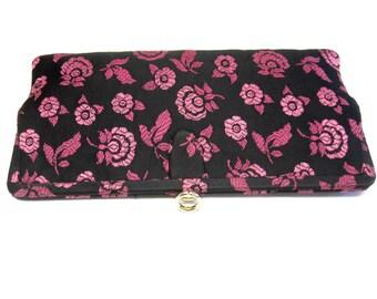 Black Hot Pink  Handbag Clutch Purse