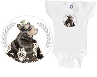Organic bear onesie / bodysuit / creeper, bear wearing Cowichan sweater with owls