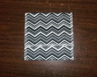 Nursing pad pouch Made with PUL in a Chevron design, black, grey & white