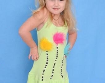 Dr Seuss The Lorax Truffula Trees girls double ruffle knit dress