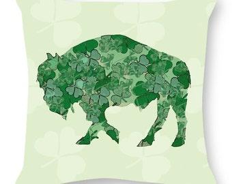 Shamrock Pillow by Alison Kurek St. Patrick's Day Irish Buffalo hand sewn pillow invisible zipper