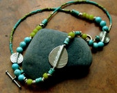 Boho Beaded Necklace in Turquoise - Silver bohemian Necklace- Lime and Teal Necklace-Silver Leaf Necklace