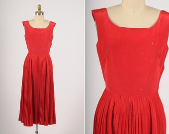 1950s dress/ 50s red taffeta party dress/ rhinestone bodice