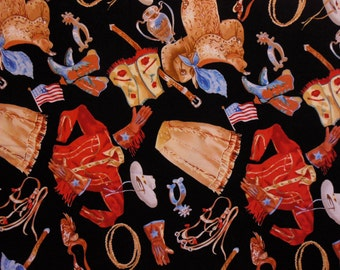 COWGIRL Printed Fabric ~ Cowgirl Shirt, Beaded Vest, Skirt. Cowgirl Boots, Gloves and Saddle ~ Western ~ Horses ~ Equine