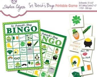 St. Patrick's Day BINGO Printable Game, Instant Download