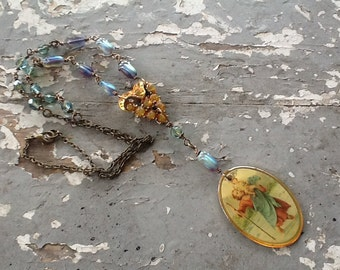 Assemblage Necklace Found Object Rustic Metal Rhinestone Copper Jewelry Upcycled Recycled Artisan