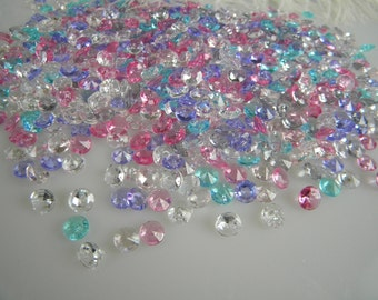Confetti Table Decoration Scatter Fake Diamonds  MICRO Small Jewels Plastic Gems Collection- Assorted color mix - 1000 pcs